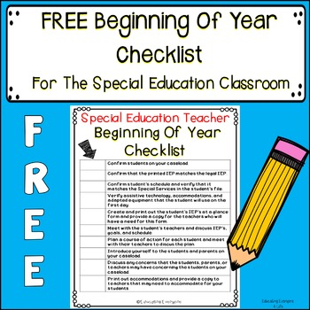 Special Education Beginning Of Year Checklist
