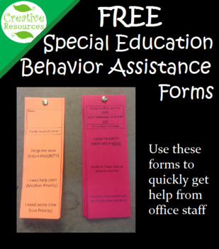 Special Education Behavior Assistance Forms