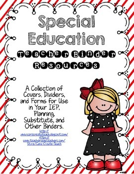 Special Education Binder Resources: Covers, Dividers, Form