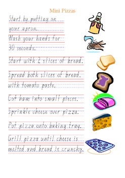 Special Education Cooking Recipe Sliced-Bread Pizzas