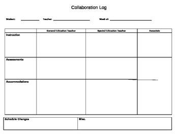 Special Education-General Education Teacher Collaboration Log