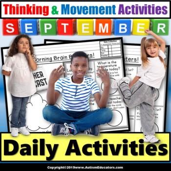 SEPTEMBER Calendar Morning Worksheets Brain Boosters for S