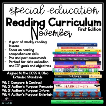 Special Education Reading Curriculum- November- Reading Sk