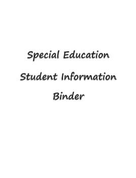 Special Education Student Information Binder -Editable