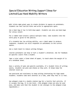 Special Education Tips for Writers with Low Hand Control