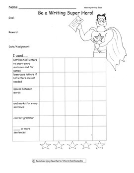 Special Education Writing / Language Goals Charts with Cer