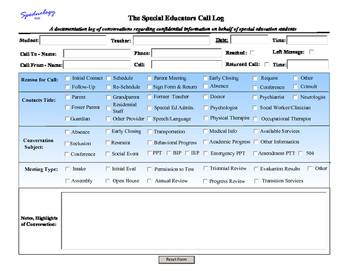 Special Educator's Call Log! For use on your iPad*, PC, MA