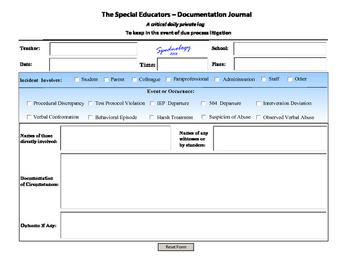 Special Educator's Documentation Journal~ use on your iPad