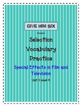 Special Effects in Film Selection Vocabulary Reading Stree