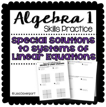 Special Linear Systems (Practice Worksheet)