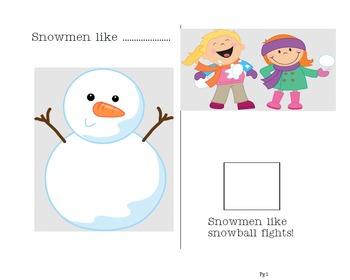 Special Needs Preschool Snowman Activity focusing on Phono
