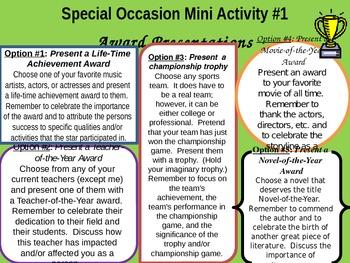Special Occasion Speaking Mini Activities