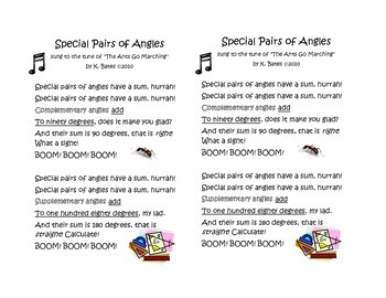 Special Pairs of Angles song 8.G.A.5 Complementary Supplementary