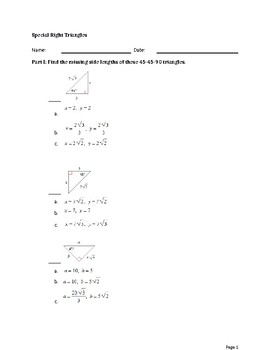 Special Right Triangle Test (45-45-90 and 30-60-90)