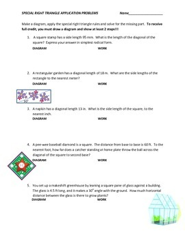 Special Right Triangles Applications Partner Paper