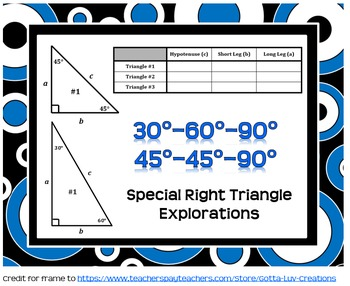 Special Right Triangles Exploration (30°-60°-90° and 45°-4