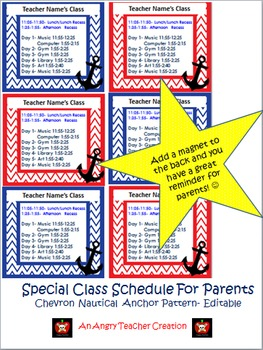 Special Schedule For Parents- Chevron Nautical Anchor Them