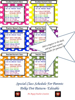 Special Schedule for Parents- Polka Dot Design (Editable)