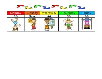 Specials Schedule with Pictures EDITABLE