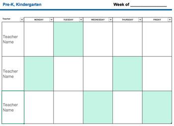 Specials Teacher- Grade Level Weekly Lesson Tracker