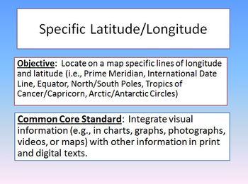 Specific Latitude Longitude Lines Powerpoint Common Core S