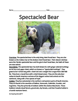 Spectacled Bear - informational article facts information