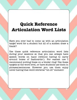 Speech (Articulation)- Quick Artic Reference Sheets