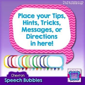 Chevron Pattern Speech Bubbles Clipart