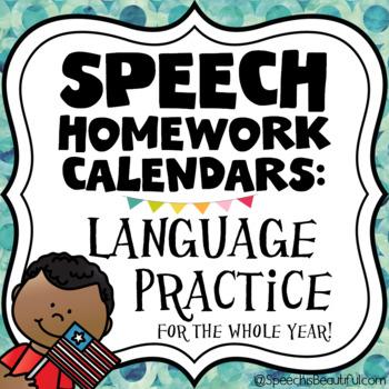 Speech Homework Calendars - Language Practice FOR THE YEAR!