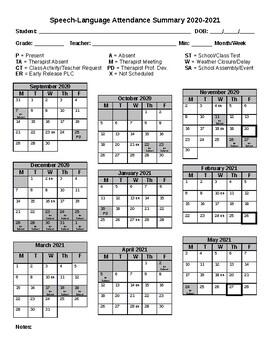 Speech-Language Attendance Calendar {Editable}