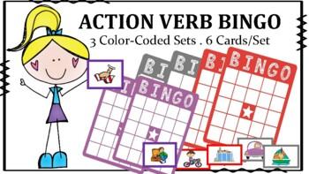 Speech-Language Bingo: Action Verbs, Subjective Pronouns,