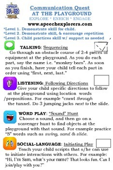 Speech & Language Carry-over / Homework: AT THE PLAYGROUND