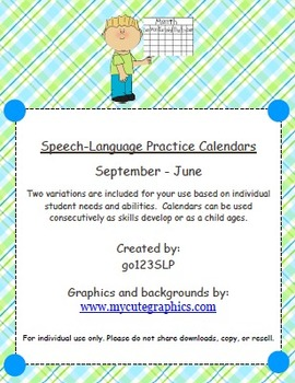 Speech-Language Practice Calendars (September - June)