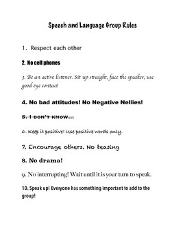 Speech/Language Rules for teens