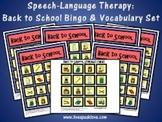 Speech Language Therapy Activity Set: Back to School Bingo