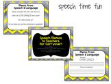 Speech Memos for teachers to help with carryover FREEBIE