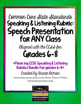 Speech Presentation Common Core Assessment Grades 6-8