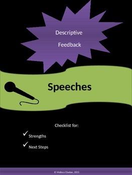 Speech - Quick Checklist for Descriptive Feedback