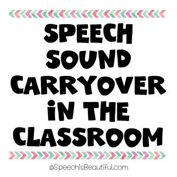 {FREEBIE} Speech Sound Carryover in the Classroom {s/z f/v