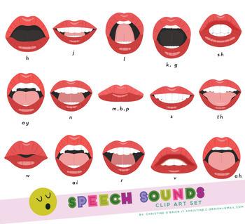 Speech Sounds Mouth Clip Art Set