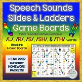 Speech Sounds Slides & Ladders: /S/, /TH/, /R/, /L/, / SH/