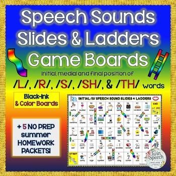 Speech Sounds Slides & Ladders: /L/, /R/, /S/, /SH/, /TH/