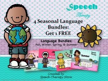 Speech Therapy 4 Seasonal Language Holiday Bundles Get 1 FREE