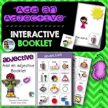 Speech Therapy Add an adjective interactive booklet make a
