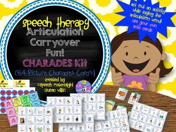 Speech Therapy Articulation CARRYOVER Fun w/ CHARADES kit