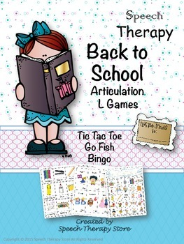 Speech Therapy Back to School Articulation L Games