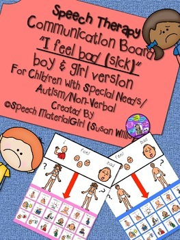 Speech Therapy Communication Board I FEEL BAD (SICK) Autis