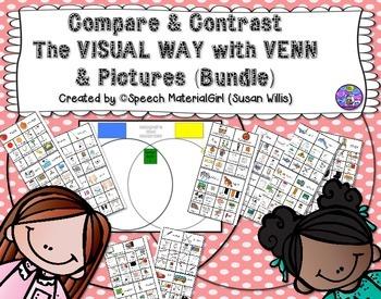 Speech Therapy Compare Contrast Same Different Venn & icon