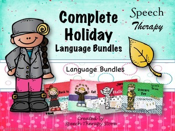 Speech Therapy Complete Fall & Winter Holiday Language Bun