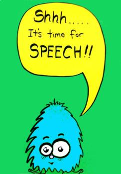 Speech Therapy Door Signs - Quiet - Aliens